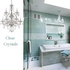 traditional glamorous clear crystal chandelier over tub bathroom lighting chandelier