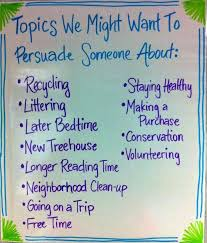 best opinion writing topics ideas would you generating persuasive writing anchor chart topics we might want to persuade someone about