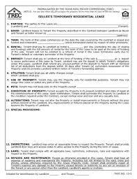 Seller's Temporary Residential Lease | Trec