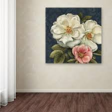 trademark fine art 35 in x 35 in floral damask iii on indigo on canvas floral wall art with trademark fine art 35 in x 35 in floral damask iii on indigo by