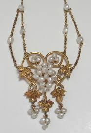 14k art nouveau baroque seed pearl g vine necklace