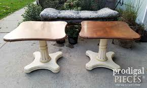vintage mid century modern henredon tables before makeover by prodigal pieces prodigalpieces com