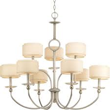 progress lighting ashbury collection 9 light silver ridge chandelier with toasted linen shade