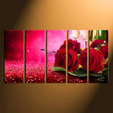 5 piece large canvas red rose group canvas rose canvas wall art home on pink rose canvas wall art with 5 piece canvas wall art red rose huge canvas prints champagne