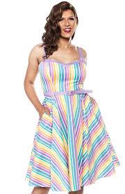 Collectif Nova Rainbow Stripes Swing Dress