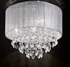 silver shade and crystal glass drops small flush ceiling light id 2522