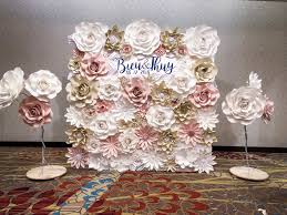 Paper Flower Backdrop Rental 8x8 Ft Full Paper Flower Wall With 2 Free Standing Flowers