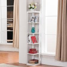 Amazon.com: Topeakmart 5 Tier White Wood Wall Corner Bookshelf Display  Bookcase Home Office Living Room Furniture: Kitchen & Dining