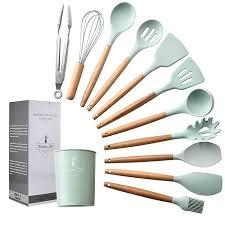 <b>Kitchen</b> Utensils Set <b>11Pcs Silicone</b> Non-stick Barreled <b>Cooking</b> ...