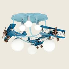 Chic 6-Light Airplane Shaped Painting Modern Bedroom Ceiling Light Semi  Flush