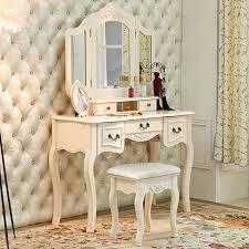 french vintage white wood vanity dressing table set makeup