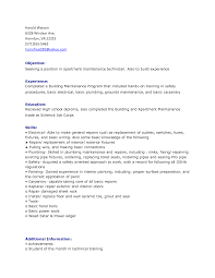 Cover Letter Maintenance Resume Objective Statement Resume Objective