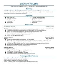 Lead Massage Therapist Resume Sample