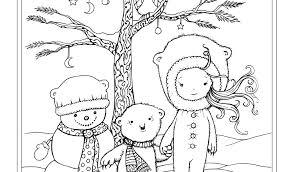 Fresh Free Winter Scene Coloring Page Snowman Polar Bear Little Girl