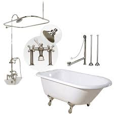 home heritage 60 inch cast iron clawfoot tub shower package with british telephone faucet
