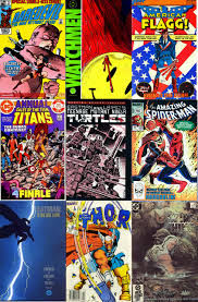 some significant ics from the 80 s from upper left to bottom right daredevil 181 apr 82 watchmen 1 sep 86 american flagg 1 oct 83