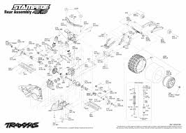 traxxas 1 10 scale stampede 4x4 vxl 4wd brushless monster truck 6708l rear exploded view stampede 4x4 vxl