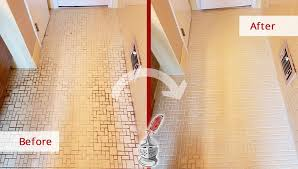 before and after picture of a ceramic tile bathroonm floor grout cleaning service in rye