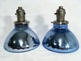 mercury glass lamp shade details about antique pair blue mercury glass light shade industrial pendant fixture