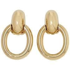 cartier 18 karat yellow gold door knocker clip on earrings