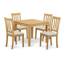 east west furniture oxan5 oak c 5 piece table and 4 dinette chair set contemporary dining room