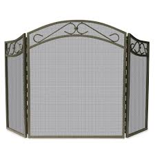 iron fireplace screens. UniFlame Bronze Wrought Iron 3-Panel Fireplace Screen With Decorative Scroll Screens