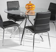 glass dining room table with leather chairs. dining room:elegant room with round glass table and chrome legs black leather chairs