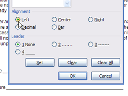 type of tab how to set a tab in the word 2007 tabs dialog box