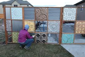 How to build sheet metal fence Fence Corrugated Noelle Designs Funky Metal Fence Noelle Designs