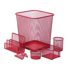 honey can do 6 piece steel mesh desk set in red