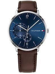 tommy hilfigerbrooklyn blue dial brown leather strap watch 1791508