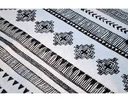 tribal aztec cotton rug black and white geometrical navajo print bohemian tribal