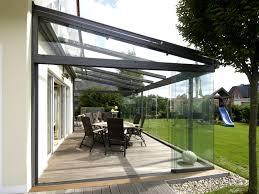garden glass terrace with sliding doors