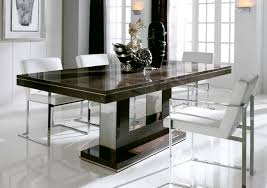 Innovative White Chairs and Marble Modern Dining Table on Clean White Tile  Flooring