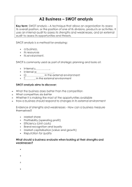 As A2 Business Swot Analysis Worksheet By Hannahlawrance21 ...