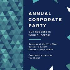 Company Picnic Template Office Party Invitation Template Blue Green Triangles Corporate