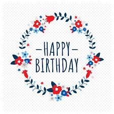 Simple Floral Happy Birthday Square Card Template
