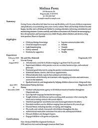 Family Caregiver Resume Sample Nanny Resumes Examples 24 Resume Sample For A Caregiver 16