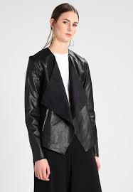 waterfall jacket faux leather jacket black