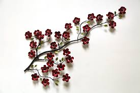 large metal cherry blossom wall art