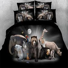 black white and brown elephant polar bear zebra tiger hound giraffe print zoo animal themed twin full queen king size bedding sets