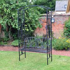 metal garden arch with 2 seater bench hover to zoom