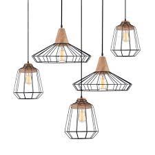 Lundlund Minimalist Scandinavian Wooden Pendant Light Sangkar Metal Cage Pendant Light With Wood Base Scandinavian Styling Ceiling Light
