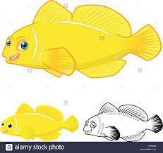 Goby Design High Quality Lemon Goby Fish Cartoon Character Include Flat