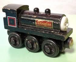 details about authentic thomas friends wooden railway train douglas black engine rare htf