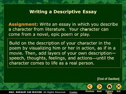 writing workshop writing a descriptive essay assignment prewriting  2 assignment