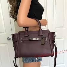 nwt coach swagger 27 leather oxblood satchel tote shoulder bag handbag