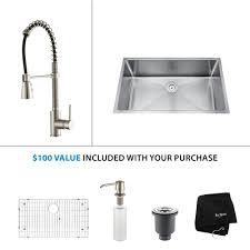 kraus all in one undermount stainless steel 32 in single bowl kitchen sink