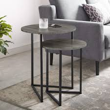 slate grey black 2 piece round nesting end tables