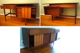 Vintage hooker furniture desk This Set Of 1960s Vintage Furniture From Hooker Includes Lovely Floating Top Desk With Matching Chair And Credenza All Pieces Feature Solid Wood Apartment Therapy 1960s Hooker Furniture Set 600 Apartment Therapy